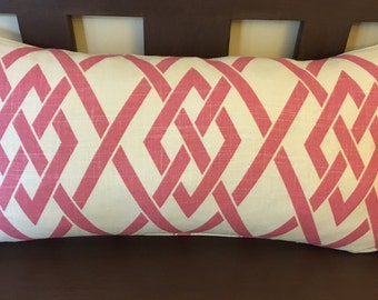 Pink and Ivory Geometric Print Decorative Pillow Cover Throw Pillow Rectangle 13 x 24""