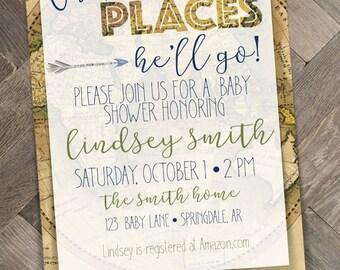 Little Traveler Baby Shower Invitation   Adventure   Vintage Map   Travel Themed   Printable   Digital Download