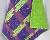 Aliens Baby Quilt, Purple Green Baby Quilt, Baby Boy Quilt, Nursery Crib Blanket, Baby Shower Gift, Modern Baby Quilt, Quiltsy Handmade