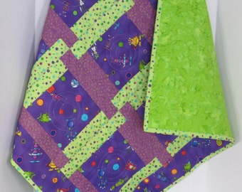 Aliens Baby Quilt, Purple Green Baby Quilt, Baby Boy Quilt, Nursery Crib Blanket, Baby Shower Gift, Modern Baby Quilt, Quiltsy Handmade