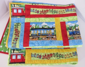 Train Baby Quilt, Red Green Blue Yellow Baby Quilt, Nursery Crib Quilt, Toddler Quilt, Quiltsy Handmade, Baby Shower Gift