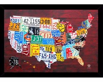 Framed License Plate Map of the US (United States) Poster 24 x 36 inches, United States Map Sign, United States Map Poster, License Plate