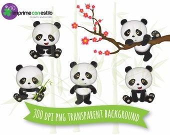 Panda Bear Digital Clipart set. Panda bear. Personal and small commercial use.