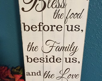 Rustic Kitchen Sign U2022 Bless The Food Before Us Wood Sign U2022 Primitive Kitchen  Sign U2022