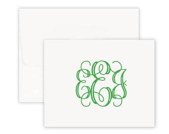 personalized stationery, Custom notes, notecards, modern monogram,  stationery set, foldover, personalized note cards, graduation gift