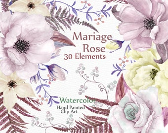 """Watercolor floral Elements: """"WEDDING CLIPART"""" Peonies Roses clipart wedding invitation DIY clipart floral clip art watercolor flowers"""