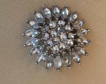 Vintage Floral Brooch Silver and Clear Stones