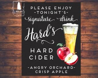 PRINTABLE Signature Drink sign, Apple Cider, Chalkboard, Hard Cider, Winter Wedding, Christmas wedding, Autumn Wedding, Fall wedding, Cider