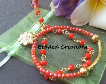Orange Wire Wrapped Bracelet