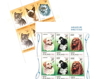 12 x Cats and Dogs Mint Never Hinged Unused New Zealand Postage Stamps - Labrador Spaniel Tabby - for crafts, stamp collecting, postage
