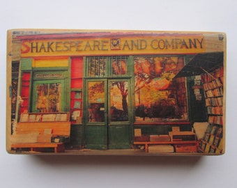 Shakespeare and Company Bookstore and Paris Wall Newspaper 2-Sided Color Photo Transfer on Recycled Wood OOAK
