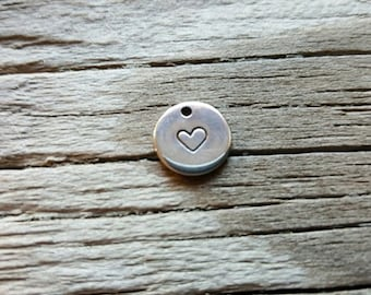 Hand Stamped Heart Charm