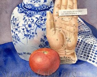 Fortune Teller Watercolor Still Life, Archival Print