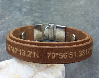 FREE SHIPPING-Personalized Bracelet,Men Strap Bracelet,GPS Bracelet For Men,Leather Bracelet,Latitude Longitude Men Bracelet,Cuff Bracelet,