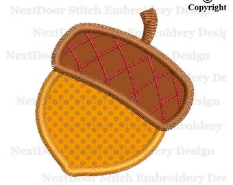 Acorn Embroidery Applique Design, Nut Machine Embroidery,  food-008