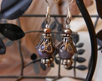 Ornate purple earring, natural stone, freshwater pearl, sliver