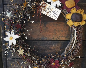 Primitive Wreath with flowers  - fall wreath - primitive decor - fall - primitive flowers