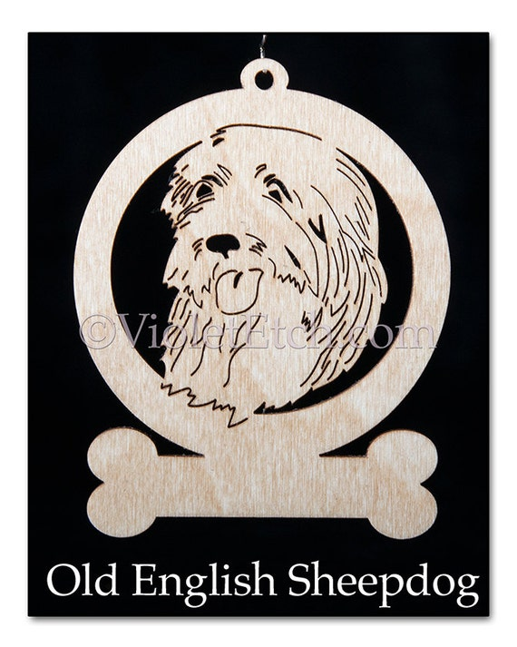 Laser Cut Ornament-Pet Ornament-Old English Sheepdog Ornament-Old English Sheepdog Gift-Wooden Old English Sheepdog-Free Personalization