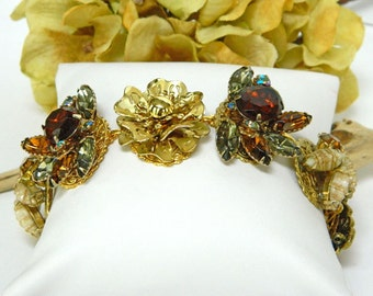 Gold Cuff Bracelet, Brown Bracelet for Women, Rhinestone Bracelet, Chunky Bracelet, Gift for Mom, Handcrafted Jewelry, Flower Bracelet