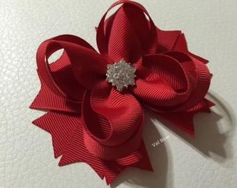 Red Christmas Stacked Hair Bows , Christmas Hair Bow , Red Boutique Stacked Hair Bow , Solid Color Hair  Bow, Valentine Hair Bows