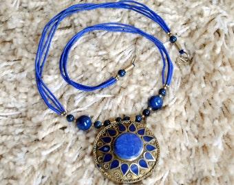 Afghan Tribal Round Pendant Gypsy Necklace -Lapis Lazuli Blue