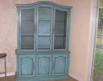 Hand Painted and Distressed Vintage Stanley China Cabinet in 5-Layer Blue, Shabby Chic China Hutch