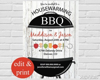 Housewarming BBQ Invitation INSTANT DOWNLOAD-Edit with Acrobrat Reader, Do-It-Yourself