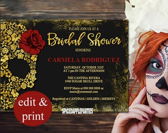 Bridal Shower Invitation, Day of the Dead, Gold Sugar Skull - INSTANT DOWNLOAD, DIY