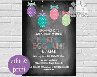 Easter Egg Hunt & Brunch Invitation, Easter Egg Hunt,- INSTANT DOWNLOAD Edit with Acrobat Reader and Print at Home