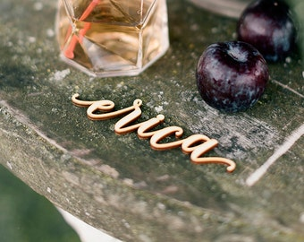 Laser Cut Place Settings - Set of 10 - Wood and Acrylic - Wedding Names Settings