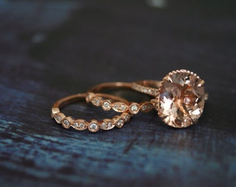 Diamond Rose Gold Morganite Engagement Ring, Rose Gold Morganite Ring, Engagement Ring, Morganite, Oval Morganite Wedding Set, 2 bands