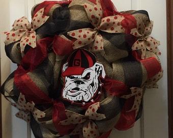 Georgia Bulldog wreath, front door decor, Bulldog Wreath,