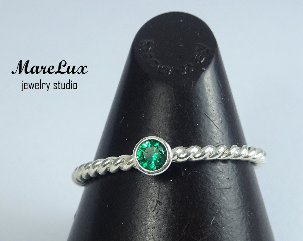 braided 3 mm emerald stackable silver ring green synthetic