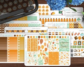October kit vertical, kawaii vertical kit, erin condren vertical kit, monthly planner kit, full month kit, monthly planner set, kawaii