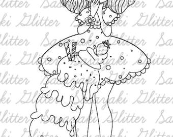 Ice Cream Girl Digital Stamp by Sasayaki Glitter