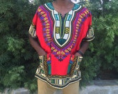 Red Unisex African Dashiki   ONE SIZE   High-Quality & Affordable