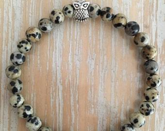 Dalmatian Jasper bracelet, genuine gemstones, made to order