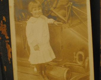 Early 1900's Sepia Tone Photo/Postcard, Little Girl with Antique Car