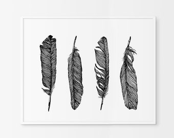 Black and White  Feather Art, Feather Print, Printable Feather Wall Prints,Bohemian Prints, Feather Wall Print