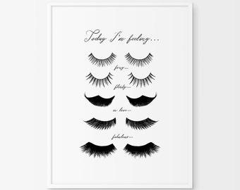 Eye Lashes Fashion Print, Wall Decor, Minimal Art, Glamour, Fashion Wall Art, Fashion Poster, Beauty, Bedroom Decor
