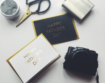 White Father's Day Card, Luxury Stylish Gold Foil Letterpress Dad Card