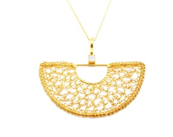 Crochet wire silver 925' pendant 18k gold plated