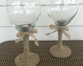 2 Twine Wrapped Wine Glasses
