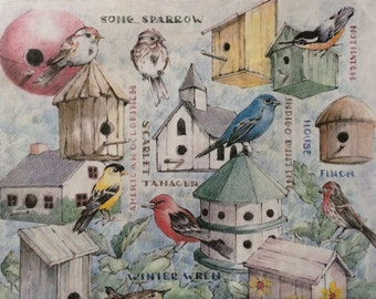 Sweet Birds and their houses  Wrapping Paper ~ 1 Sheet  ~ 20 x 30 inches