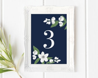 Printable Wedding Table Numbers 1-40 | Floral Wedding Table Numbers | Jasmine Flower | Navy and White | Modern | Reception, 4x6, 5x7. 3.5x5