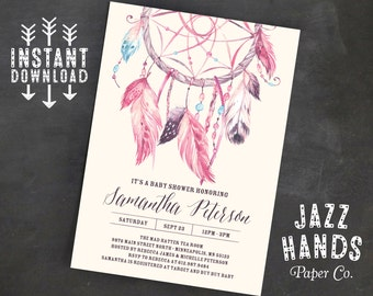 Dream Catcher Printable Baby Shower Invitation Template, DIY Printable, Dreamcatcher, tribal, boho, feathers, invite, watercolor, girl, pink