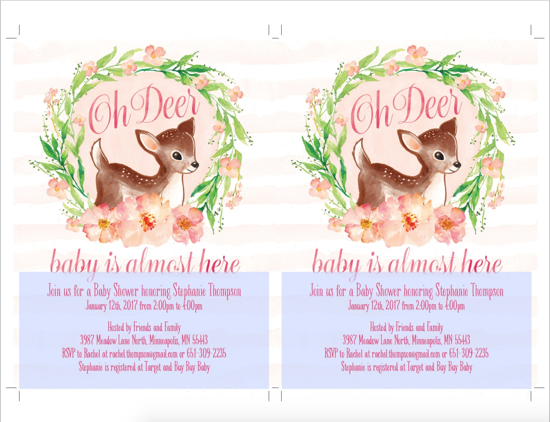 Oh Deer Baby Shower Invitation, Printable, Deer Baby ...