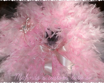 Pink feather glam tutu with bling headband