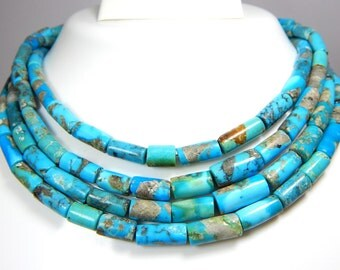 "Sleeping Beauty Turquoise Tube beads 100% Natural Gemstone 14""inches - Size 6.5x14 to 6x4.mm Approx"