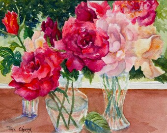 Original Signed Watercolor Painting Roses Still Life A Scent of Summer Tina Chong